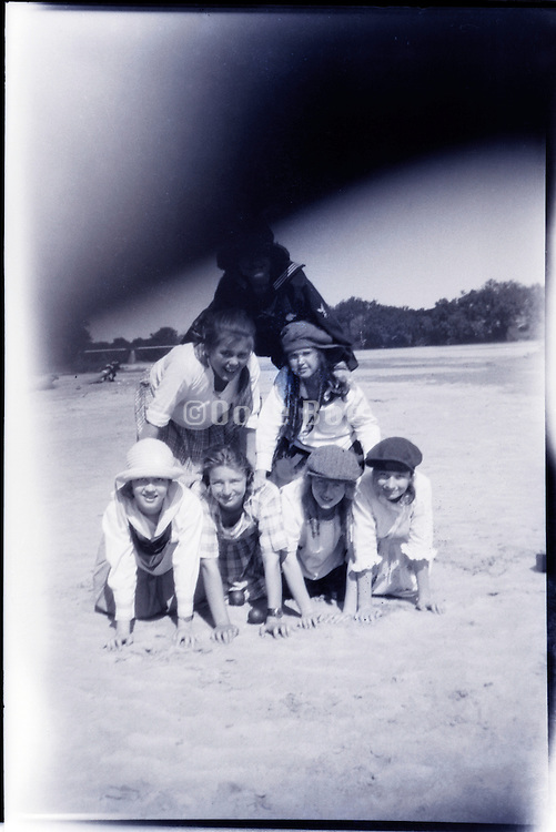 group of girls having fun on a day outing USA 1920s