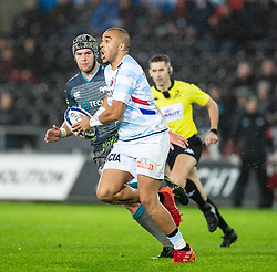 Simon Zebo of Racing 92<br /> <br /> Photographer Simon King/Replay Images<br /> <br /> European Rugby Champions Cup Round 3 - Ospreys v Racing 92 - Saturday 7th December 2019 - Liberty Stadium - Swansea<br /> <br /> World Copyright © Replay Images . All rights reserved. info@replayimages.co.uk - http://replayimages.co.uk