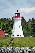 The Mulholland Point Lighthouse on Campobello Island, New Brunswick, viewed from Lubec, Maine.
