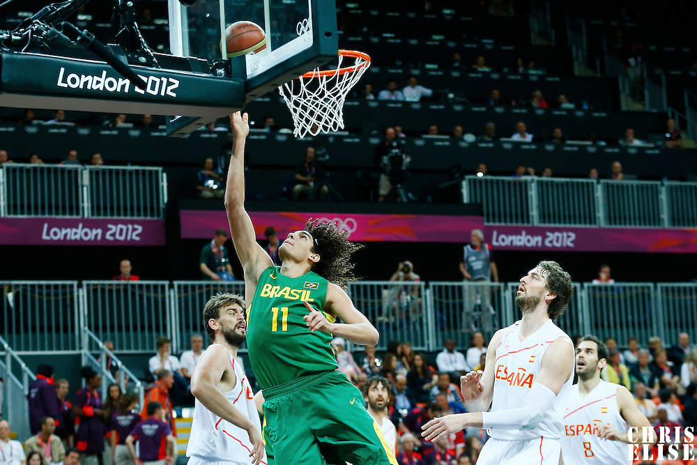 06 August 2012: Brazil Anderson Varejao goes for the layup during 88-82 Team Brazil victory over Team Spain, during the men's basketball preliminary, at the Basketball Arena, in London, Great Britain.