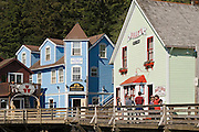 Shops along historic Creek Street in Ketchikan, Alaska; on the right is Dolly's House, a former brothel now open for tours.