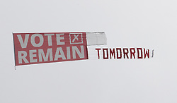 © Licensed to London News Pictures. 22/06/2016. London, UK. A light aircraft tows a Vote Remain banner over Westminster on the last day of campaigning in the EU referendum. Photo credit: Peter Macdiarmid/LNP