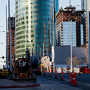 Construction progress of the Kansas City Streetcar line and One Light Tower