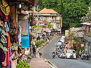 17 JULY 2016 - UBUD, BALI, INDONESIA: Storefronts on Jalan Wenara Wana, also known as Monkey Forest Road, in Ubud, Bali.       PHOTO BY JACK KURTZ
