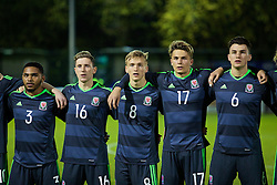 BANGOR, WALES - Saturday, November 12, 2016: Wales' Cole DaSilva, Aaron Lewis, Matthew Smith, Rhyle Ovenden and Regan Poole line-up before the UEFA European Under-19 Championship Qualifying Round Group 6 match against England at the Nantporth Stadium. (Pic by Gavin Trafford/Propaganda)