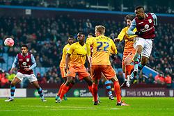 Jordan Ayew of Aston Villa heads a shot - Mandatory byline: Rogan Thomson/JMP - 19/01/2016 - FOOTBALL - Villa Park Stadium - Birmingham, England - Aston Villa v Wycombe Wanderers - FA Cup Third Round Replay.
