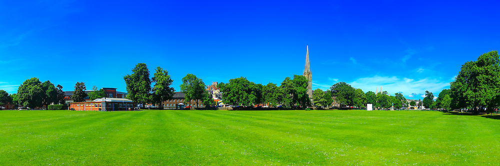 View overlooking the Mall, Armagh in the summer Sun in June 2014, including both St. Patrick's Cathedrals as well as the the Free Presbyterian Church whose nice architecture dominates the mall front. Composed of 7 shots at 24mm in portrait orientation