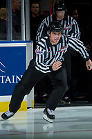 KELOWNA, CANADA - OCTOBER 20: Linesman Tim Plamondon enters the ice for warm up between the Portland Winterhawks and the Kelowna Rockets on October 20, 2017 at Prospera Place in Kelowna, British Columbia, Canada.  (Photo by Marissa Baecker/Shoot the Breeze)  *** Local Caption ***