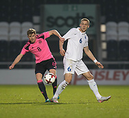 Scotland's James Jones and Estonia's Mihkel Ainsalu - Scotland under 21s v Estonia international challenge match at St Mirren Park, St Mirren. Pic David Young<br />  <br /> - &copy; David Young - www.davidyoungphoto.co.uk - email: davidyoungphoto@gmail.com