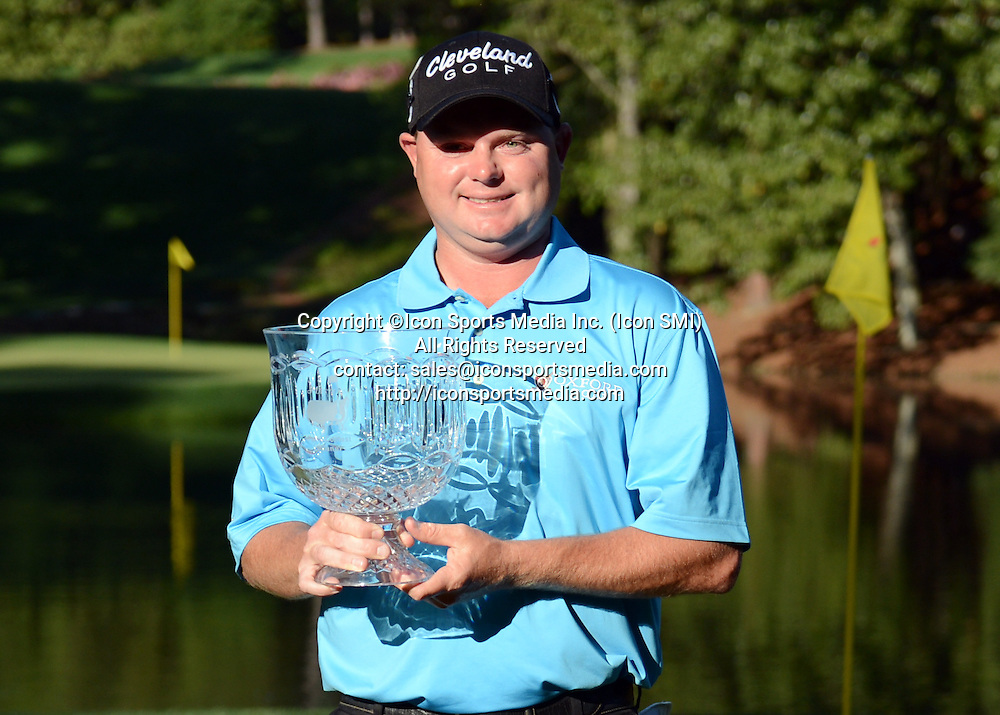 April 10, 2013 - Augusta, Georgia, U.S. - Ted Potter Jr. poses with the trophy after winning the Par 3 Contest in a playoff against Matt Kuchar before the 2013 Masters Tournament at Augusta National Golf Club on Wednesday, April 10, 2013, in Augusta, Ga.