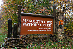 National Park Service entrance sign, Mammoth Cave National Park, Kentucky, United States of America