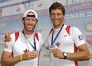 Poznan, POLAND, CAN M2-,  Left, Scott FRANDSEN and Dave CALDER,  with their Gold medals after securing Olympic selection for the 2008 Beijing Olympics by winning the gold medal the  Men's pair at the 2008 Olympic Qualification  Rowing Regatta. Malta Rowing Course on Wednesday, 18/06/2008. [Mandatory Credit:  Peter SPURRIER / Intersport Images] . Rowing Course:Malta Rowing Course, Poznan, POLAND