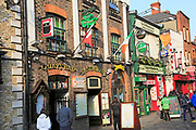 Colourful pub exteriors flags and beer signs, Temple bar area, Dublin city centre, Ireland, Republic of Ireland