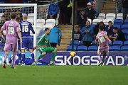Reading striker Orlando Sa makes an attempt on goal during the Sky Bet Championship match between Cardiff City and Reading at the Cardiff City Stadium, Cardiff, Wales on 7 November 2015. Photo by Jemma Phillips.
