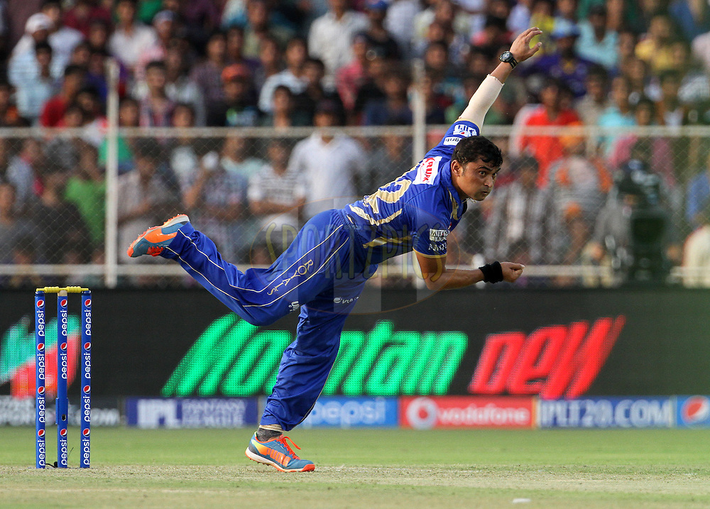Pravin Tambe of the Rajasthan Royals bowls a delivery during match 25 of the Pepsi Indian Premier League Season 2014 between the Rajasthan Royals and the Kolkata Knight Riders held at the Sardar Patel Stadium, Ahmedabad, India on the 5th May  2014<br /> <br /> Photo by Vipin Pawar / IPL / SPORTZPICS      <br /> <br /> <br /> <br /> Image use subject to terms and conditions which can be found here:  http://sportzpics.photoshelter.com/gallery/Pepsi-IPL-Image-terms-and-conditions/G00004VW1IVJ.gB0/C0000TScjhBM6ikg
