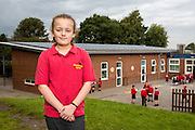One of the ECO team members from the school. Lymm Community Energy has a number of solar panels on top of Ravenbank county primary school.