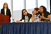 Queens College panel discussion: Women, Technology and Internet Culture, 3/16/15. L-R: Facilitator Joyce Warren, Katherine Cross, Anitha Raj, and Mikki Kendall.