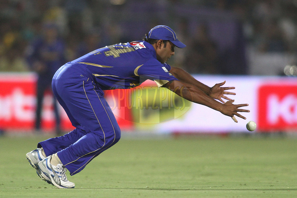 Stuart Binny of the Rajasthan Royals stretches as he drops a catch during match 30 of the the Indian Premier League (IPL) 2012  between The Rajasthan Royals and the Royal Challengers Bangalore held at the Sawai Mansingh Stadium in Jaipur on the 23rd April 2012..Photo by Shaun Roy/IPL/SPORTZPICS