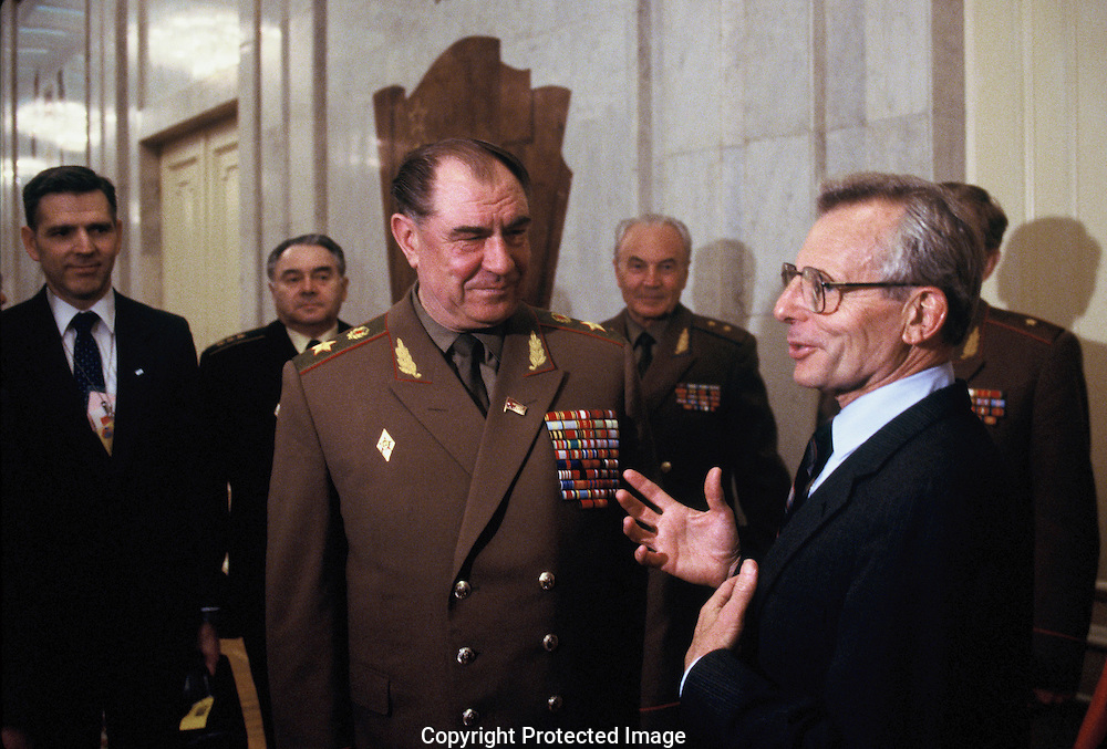 Secretary of Defense, Frank Carlucci with USSR Defense chief General Dmitry Yazov at the Moscow III Summit in June 1988<br /> Photo by Dennis Brack