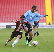 Sheffield United's Stefan Scougall and Dundee's Luka Tankulic - Sheffield United v Dundee, pre season friendly at Bramall Lane<br /> <br />  - &copy; David Young - www.davidyoungphoto.co.uk - email: davidyoungphoto@gmail.com