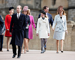 WINDSOR - UK - 27th Mar 2016: HM Queen Elizabeth, accompanied by HRH The Duke , The Duke and members of the royal family attends the annual Easter Sunday service at St George's Chapel in the grounds of Windsor Castle.<br /> <br /> <br /> Photograph by Ian Jones.