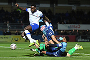 Tranmere Rovers defender Manny Monthe (6) on defensive duties  under pressure from Wycombe Wanderers striker Scott Kashket (11) during the The FA Cup match between Wycombe Wanderers and Tranmere Rovers at Adams Park, High Wycombe, England on 20 November 2019.