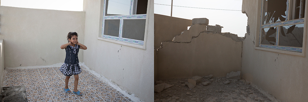 © Licensed to London News Pictures.  Before and after pictures showing life before ISIS occupation of Hamdaniyah in Iraq, and life after liberation from ISIS. PICTURED - A young female Christian refugee from Mosul, stands in the garden of the home before the occupation by ISIS (left) and the same scene after liberation from ISIS (right).  Hamdaniyah, and much of the Nineveh plains, were captured by the Islamic State during a large offensive on the 7th of August 2014 that saw the extremists advance to within 20km of the Iraqi Kurdish capital Erbil. Residents of the town  included many Christian refugees who escaped there after the fall of Mosul.  Photo credit: Matt Cetti-Roberts/LNP