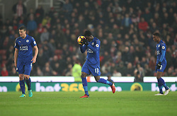 Daniel Amartey of Leicester City (C) celebrates after Leonardo Ulloa (Not Pictured) scored their first goal - Mandatory by-line: Jack Phillips/JMP - 17/12/2016 - FOOTBALL - Bet365 Stadium - Stoke-on-Trent, England - Stoke City v Leicester City - Premier League