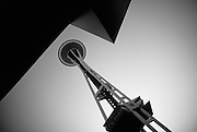 Image of the Space Needle in Seattle, Washington, Pacific Northwest (toned black & white conversion)