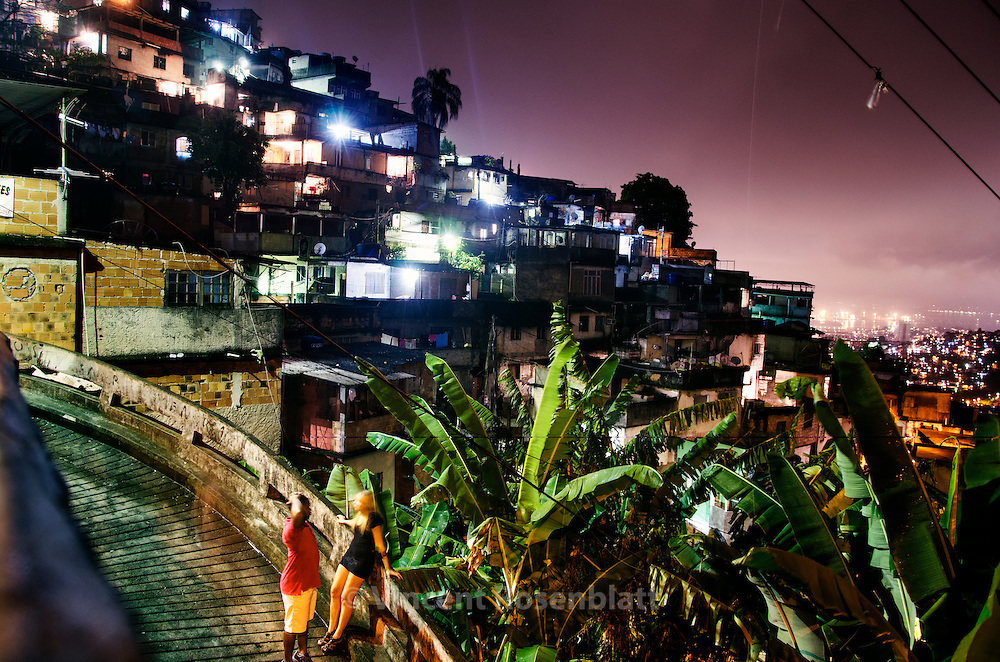 A young couple in the favela Morro dos Prazeres, in the Santa Teresa borough. aside from the Baile Funk happening in the near ... at least 500 persons have been dancing all night on the top of the hill..