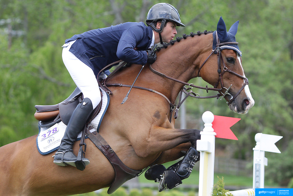 NORTH SALEM, NEW YORK - May 15: Edward Levy, France, riding Wirma, in action during The $50,000 Old Salem Farm Grand Prix presented by The Kincade Group at the Old Salem Farm Spring Horse Show on May 15, 2016 in North Salem. (Photo by Tim Clayton/Corbis via Getty Images)