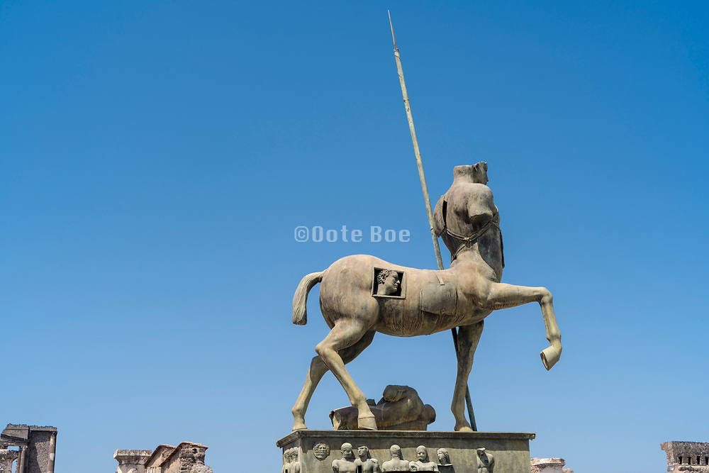 horse Centaur sculpture at the Forum in Pompeii Italy