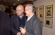 James Fenton and Nicholas Garland, Nicholas Garland prints and drawings, Fine Art Society. 13 May 2003. © Copyright Photograph by Dafydd Jones 66 Stockwell Park Rd. London SW9 0DA Tel 020 7733 0108 www.dafjones.com