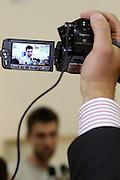 Roma Acqua Acetosa 23-05-2011<br /> Incontro con la stampa del giocatore della Nazionale Italiana di Basket Andrea Bargnani dopo le visite mediche ed i test fisici effettuate all'Istituto di Medicina e Scienza dello Sport<br /> Foto Ciamillo-Castoria