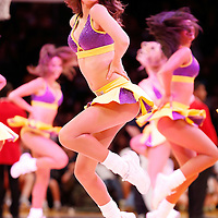 06 October 2013: A Lakers girl performs during the Denver Nuggets 97-88 victory over the Los Angeles Lakers at the Staples Center, Los Angeles, California, USA.