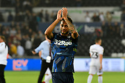 Lewis Baker (34) of Leeds United applauds the Leeds fans after a 2-2 draw during the EFL Sky Bet Championship match between Swansea City and Leeds United at the Liberty Stadium, Swansea, Wales on 21 August 2018.