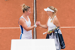 Pauline Parmentier (France, left) and Caroline Wozniacki (Denmark) at the 2017 WTA Ericsson Open in Båstad, SWEDEN, July 25, 2017. Photo Credit: Katja Boll/EVENTMEDIA.