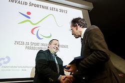 Best sportsmen Francek Gorazd Tirsek and Ziga Turk during Slovenian Disabled Sports personality of the year 2012 event on December 6, 2012 in Kristalna palace, Ljubljana, Slovenia. (Photo By Vid Ponikvar / Sportida)