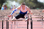 Apr 18, 2019; Azusa, CA, USA; Tim Duckworth (GBR) runs 14.24 in the decathlon 110m hurdles at the Bryan Clay Invitational at Azusa Pacific University.