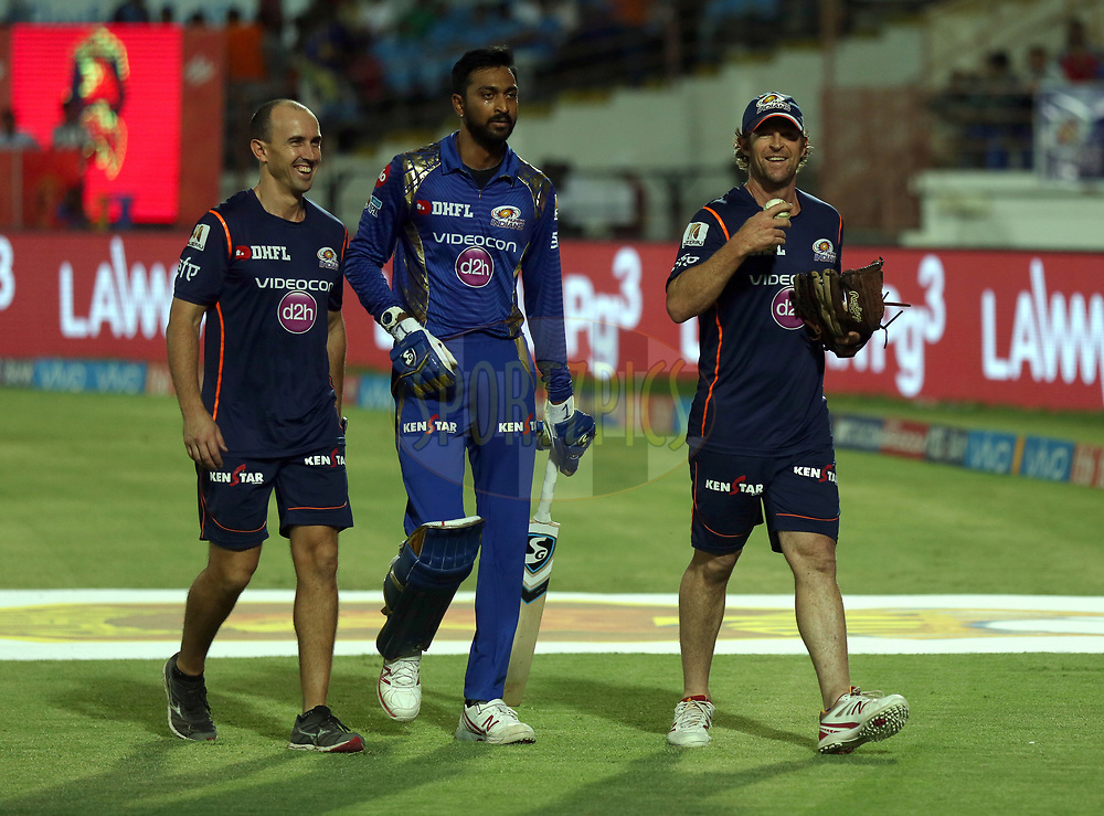 Krunal Pandya of the Mumbai Indians and Mumbai Indians fielding coach Jonty Rhodes during match 35 of the Vivo 2017 Indian Premier League between the Gujarat Lions and the Mumbai Indians  held at the Saurashtra Cricket Association Stadium in Rajkot, India on the 29th April 2017<br /> <br /> Photo by Sandeep Shetty - Sportzpics - IPL