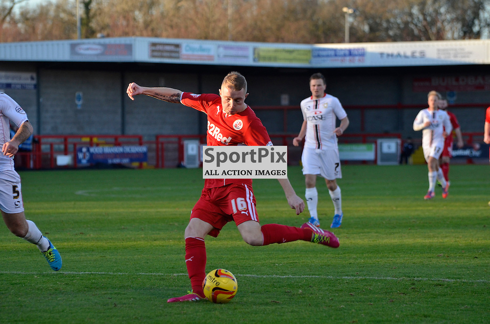 Nicky Adams with a powerful shot, Crawley v MK Dons, SkyBet League One, 26th December 2013. (c) Michael Hulf | SportPix.org.uk