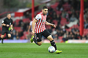 Brentford forward Neal Maupay (9) *** during the EFL Sky Bet Championship match between Brentford and Queens Park Rangers at Griffin Park, London, England on 2 March 2019.