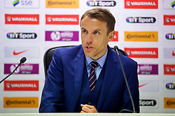 SOUTHAMPTON, ENGLAND - Friday, April 6, 2018: England's head coach Phil Neville during a post-match press conference after a goal-less draw against Wales during the FIFA Women's World Cup 2019 Qualifying Round Group 1 match between England and Wales at St. Mary's Stadium. (Pic by David Rawcliffe/Propaganda)
