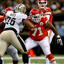 Aug 9, 2013; New Orleans, LA, USA; Kansas City Chiefs guard Jeff Allen (71) works against New Orleans Saints defensive tackle Akiem Hicks (76) during a preseason game at the Mercedes-Benz Superdome. The Saints defeated the Chiefs 17-13. Mandatory Credit: Derick E. Hingle-USA TODAY Sports