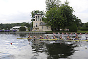 Henley, Great Britain.  M8+, Thames Challenge Cup, Star Club [Bucks], and Thames Rowing Club 'A', [Berks] race past Temple Island, in their Semi-Final. Henley Royal Regatta. River Thames Henley Reach.  Royal Regatta. River Thames Henley Reach.  Saturday  02/07/2011  [Mandatory Credit  Intersport Images] . HRR