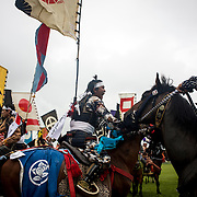 "MINAMISOMA, JAPAN - JULY 24 : A samurai horsemen compete in the Shinki-soudatsusen (sacred flag competition) during the Soma Nomaoi festival at Hibarigahara field on Sunday, July 24, 2016 in Minamisoma, Japan. ""Soma-Nomaoi"" is a traditional festival that recreates a samurai battle scene from more than 1,000 years ago.  (Photo: Richard Atrero de Guzman/NURPhoto)"
