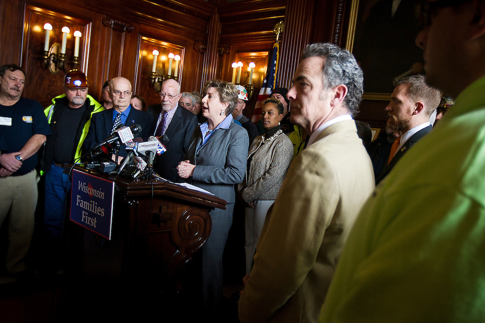 MADISON, WI — FEBRUARY 25: Wisconsin State Senator Jennifer Shilling speaks during a press conference in the Wisconsin State Capitol on Wednesday before a legislative session discussing a right-to-work bill.