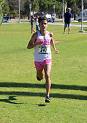 Salvador Capetillo of Mt. San Antonio College wins the men's race in 19:01.3 during the Southern California Community College cross country finals in Cerritos, Calif., Friday, Nov. 2, 2018. (Kirby Lee via AP)