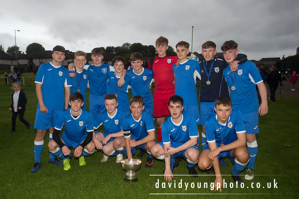 St.John's with the trophy after their win over Grove - St.John's (royal blue) v Grove (light blue) - U16 Robert Caira Memorial Trophy Final  (sponsored by DSA at East Craigie