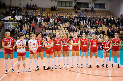 Players of Nova KBM Branik after the match between OK Nova KBM Branik and OK Calcit Volleyball in Finals of Slovenian Women Volleyball Cup 2013/14 on December 27, 2013 in Hoce, Slovenia.  Calcit Volleyball won 3-1 and became Slovenian Cup Champion 2013/14. Photo by Vid Ponikvar / Sportida